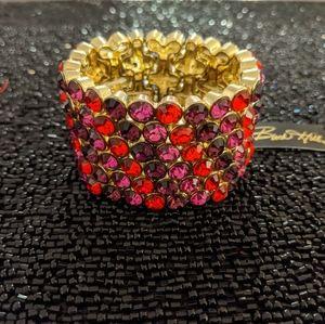 Statement red/purple rhinestone bracelet